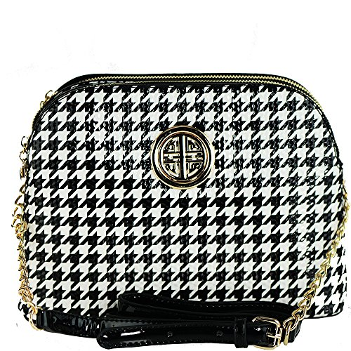 functional dome leather emblem faux pockets tone with gold shape Black White Vegan cross multi bag body AwqXCwI