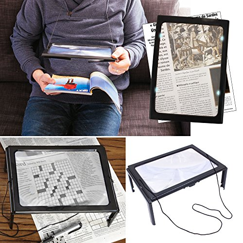 3 Folding Magnifier (Large Full Page Magnifier for reading with light: 4 Folding Legs Stand. Hand-Free Magnifier to help low vision reading page 3 X)