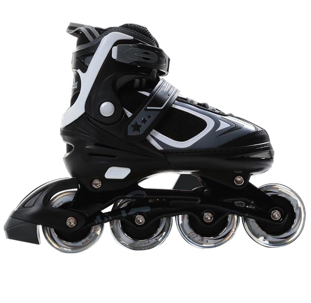 Inline Skates Adjustable PP Material PU wheels ABEC-7 Black , black , s by WY