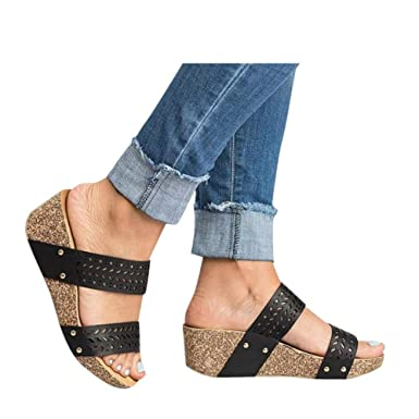 9f45328077c Womens Summer Sandal Wedges Boho Flip Flops Platform Rivet Beach Shoes Thick  Bottom Slippers (Black