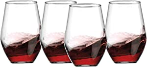 Gift Essentials Stemless Wine Glasses Set of 4 – 20oz – Diamond Shape Wine Glasses – Simple and Classy Design – Clear and Transparent Wine Goblet Set –