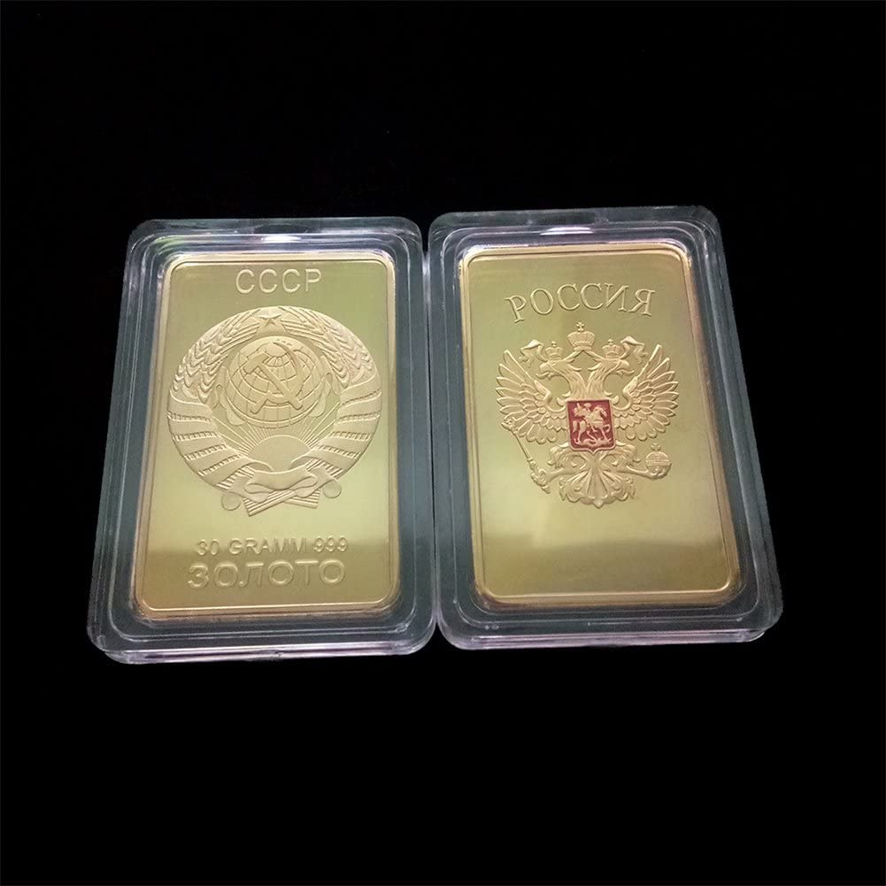 Leoie Coin Collection Golden Russia Medal Coin Home Decor Soviet Souvenir USSR Bullion CCCP 24K Gold Plating Bars Commemorative Coins Collection