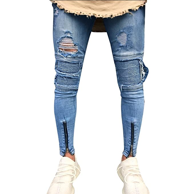 TnaIolr Men Jeans Slim Biker Zipper Denim Skinny Frayed Distressed Rip Trousers