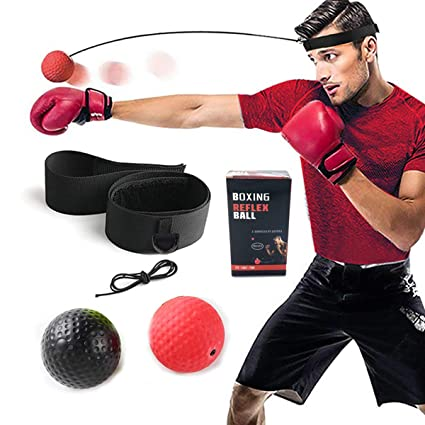 Fight Skill and Hand Eye Coordination Training 2 Difficulty Level Boxing Ball with Headband Suit for Reaction Softer Than Tennis Ball Punching Speed TEKXYZ Boxing Reflex Ball Agility