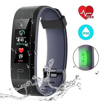 CHEREEKI Montre Connectée, Podometre Smartwatch Bracelet Etanche IP68 Écran Couleur Tracker dActivité Cardiofréquencemètre