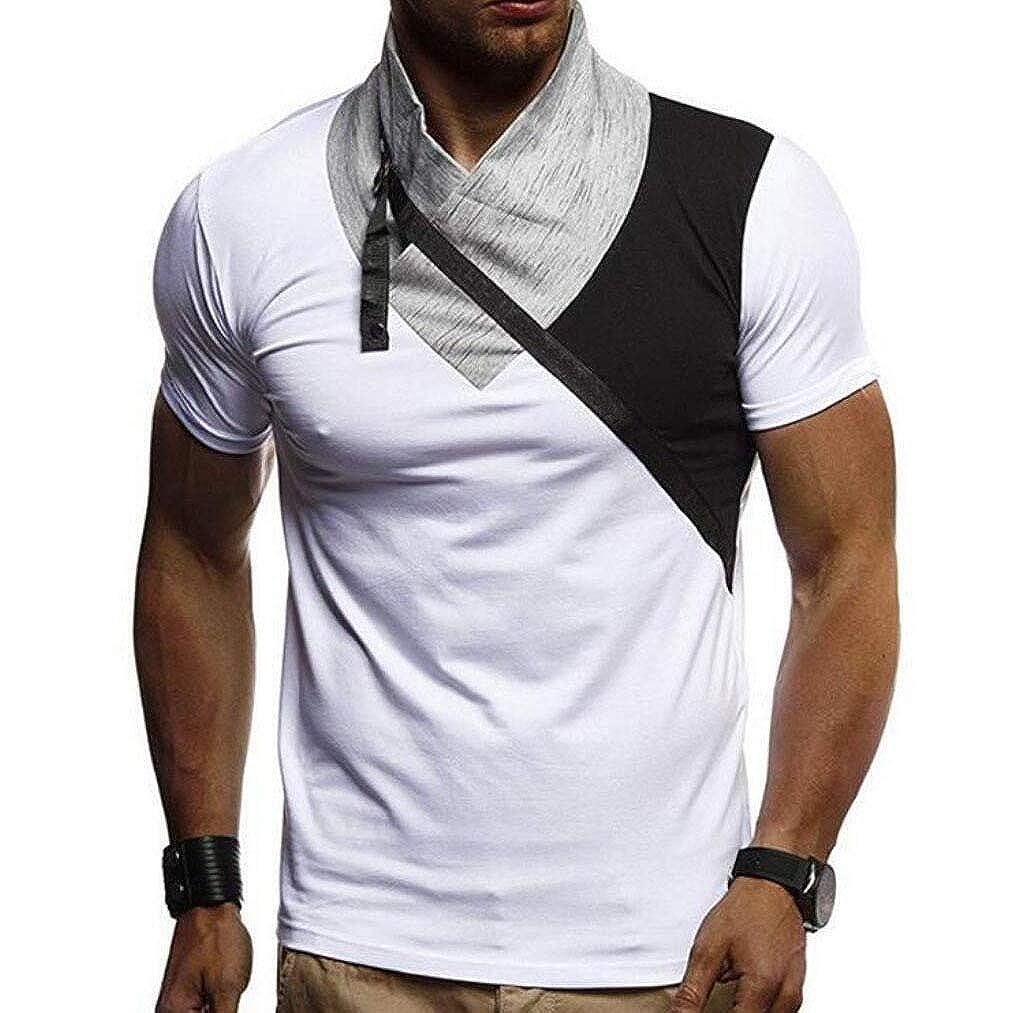Mfasica Mens Plus-Size Heap Collar Casual Work Spliced Color Loosefit Shirts