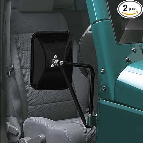 MICTUNING 8 5 Inch Shake-proof Off-Road Rectangular Adventure Mirrors,  Bolt-on Door Hinge Mirror Fits 07-19 Jeep Wrangler JK CJ YJ TJ - Textured