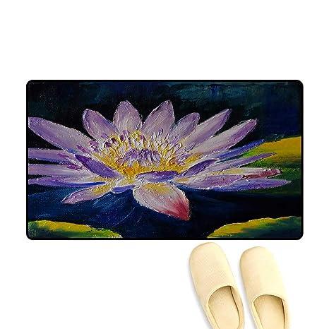 Amazoncom Door Mats For Inside Oil Painting Purple Lotus Flower