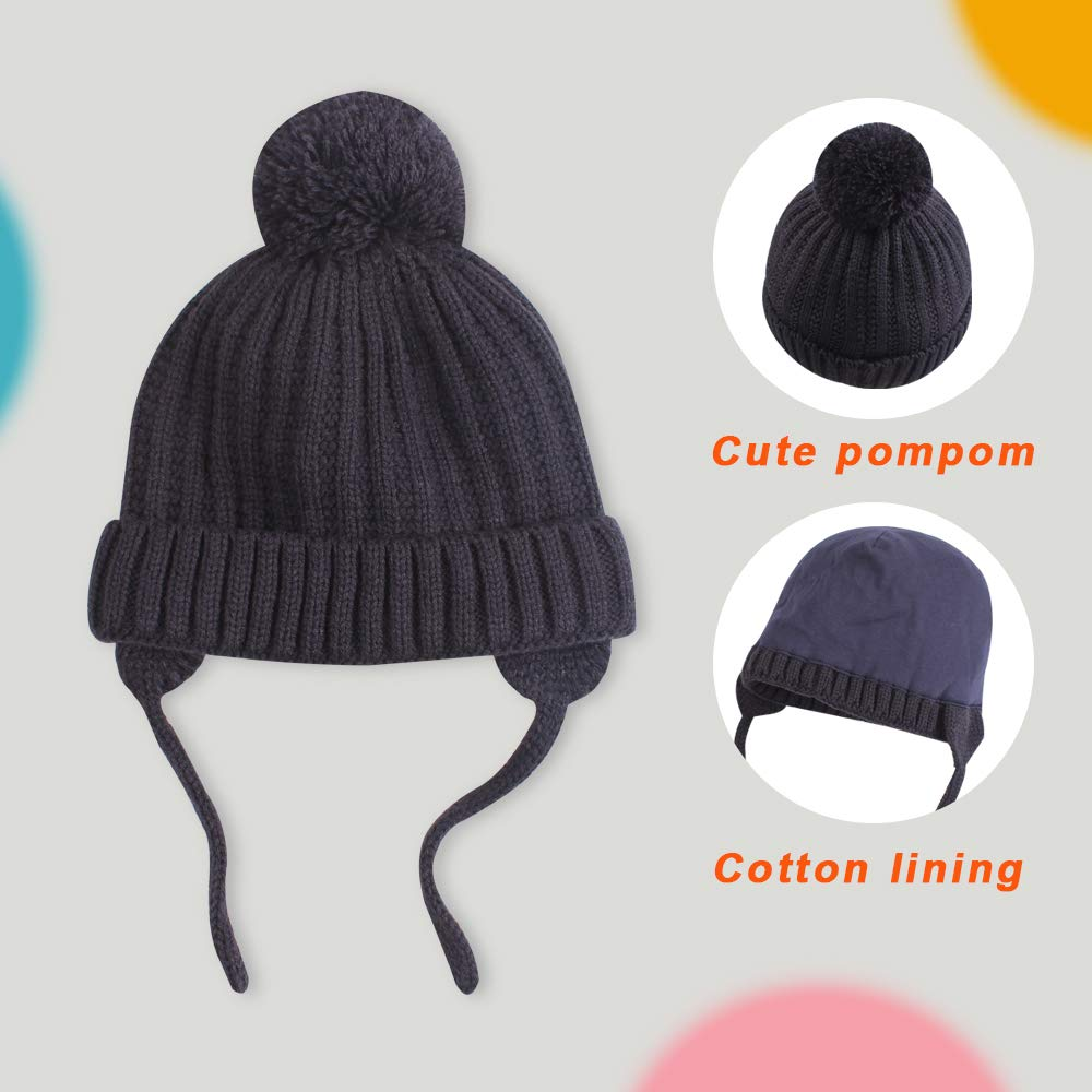 Baby Toddler Knit Beanie with Pompom Boy Girl Winter Hat Earflap Newborn Cap Cotton Lining for Kids 0-36M