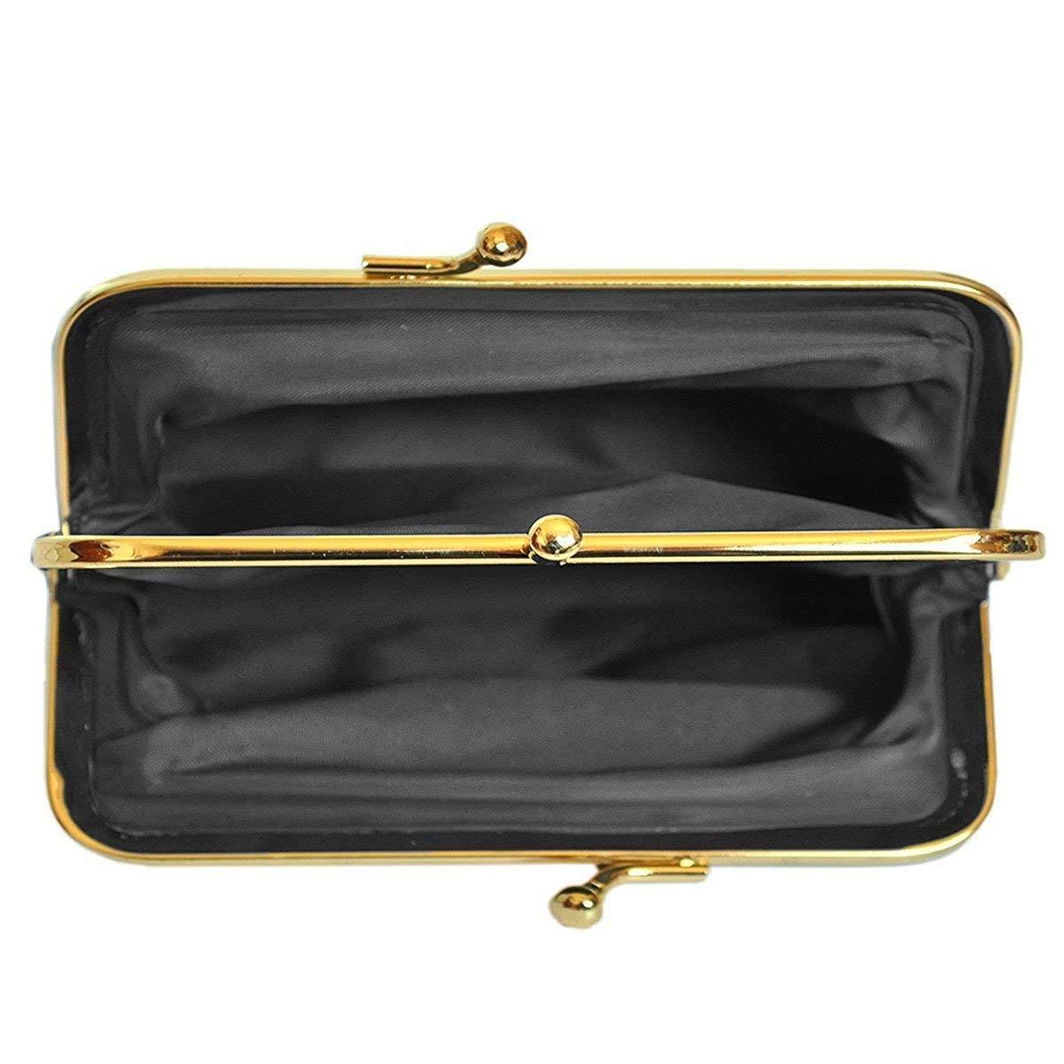 Bolsillo con Cremallera 14,5 x 9 x 3,5 cm 2 Compartimentos Piel de Cordero Monedero para Mujer con Cierre de Clic clac