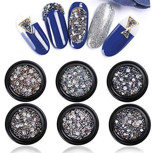 Kalolary 6 Boxes Crystals Nail Art Rhinestones 3D Crystals Round Beads Flatback Glass Nail Stone Gems Design for Nails Art Jewels DIY Decoration
