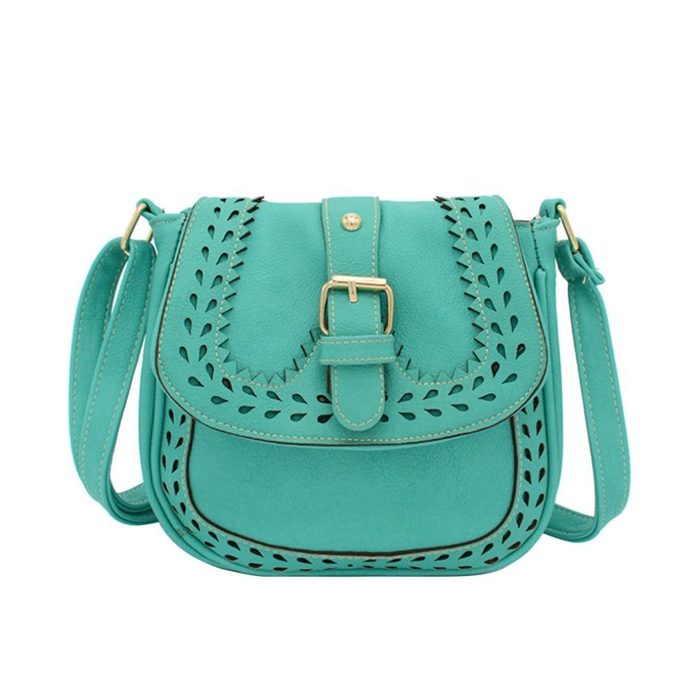 Hot Sale Hollow Out Handbags Cross Body Leather Shoulder Bags Purse Small Casual Messenger Bags (Lake Blue)