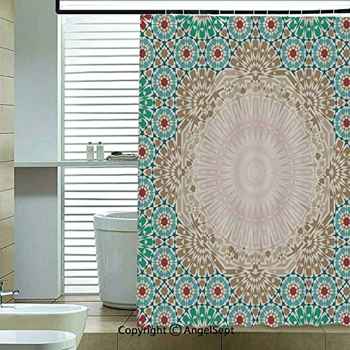 - Fabric Shower Curtain,Ottoman-Mosaic-Art-Pattern-with-Oriental-Floral-Forms-Antique-Scroll-Ceramic-Boho-Print,70.8x72 inch,Hotel Quality,Machine Washable,Multi