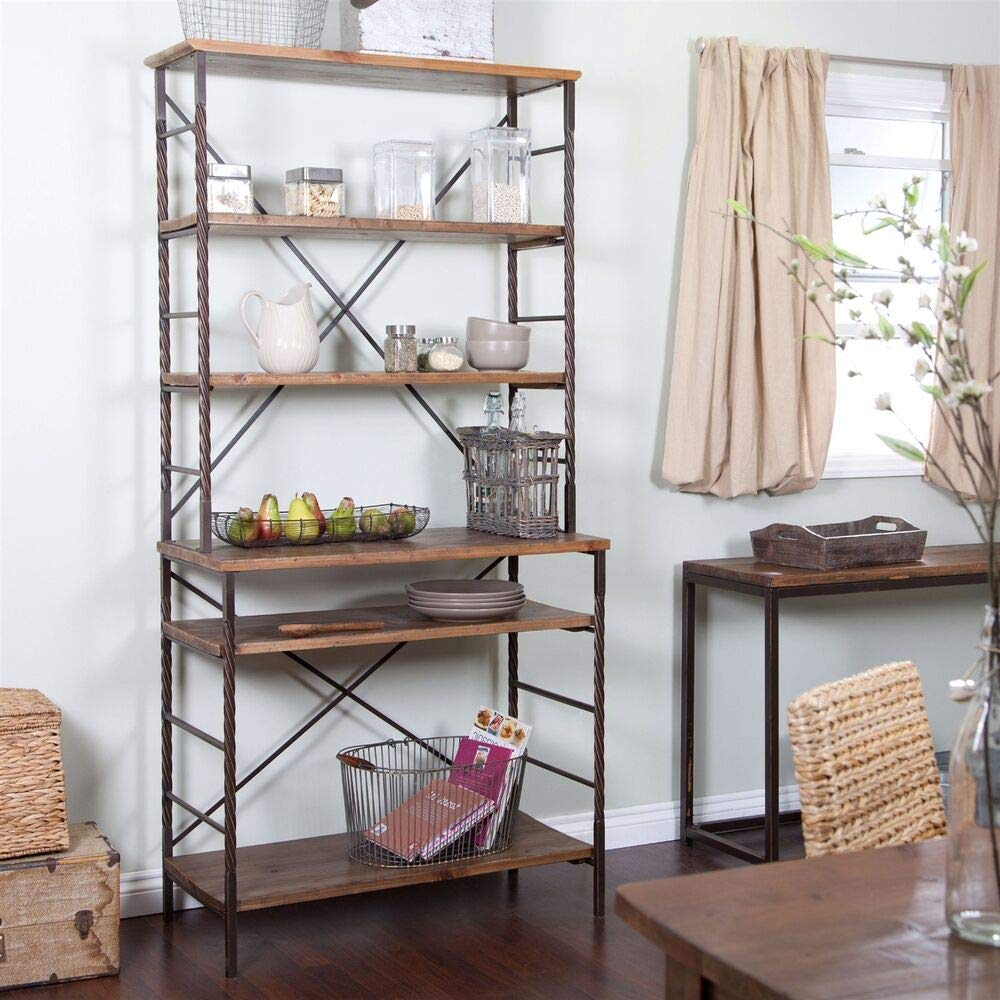 Durable Fir Wood and Metal Bakers Rack with Storage and Display Space New by Priadi Sanjaya