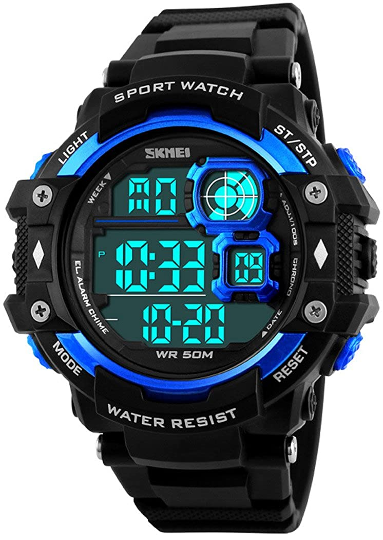 Mens Military Sports Watches Multifunction Alarm Stopwatch 12 24H 50M Waterproof LED Digital Watch