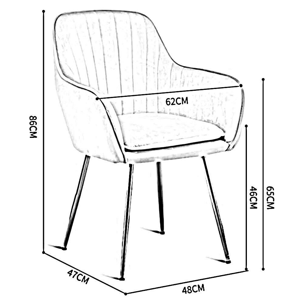 DALL Matstol mjuk dämpad ryggstöd soffa stol metall ben kontor restaurang sovrum mötesrum lätt att montera (färg: Blå 2) Blå 3
