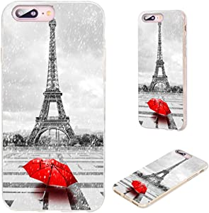 iPhone 8 Plus Case,iPhone 7 Plus Case,VoMotec [Original Series] Anti-Scratch Ultra Thin Flexible Soft TPU Full Protective Cover Case for iPhone 7 8 Plus 5.5,Paris Eiffel Tower with red Umbrella