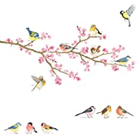 DECOWALL DA-1904 Cherry Blossom & Garden Birds Kids Wall Stickers Wall Decals Peel and Stick Removable Wall Stickers for Kids Nursery Bedroom Living Room