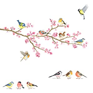 DECOWALL DA-1904 Cherry Blossom & Garden Birds Kids Wall Stickers Wall Decals Peel and Stick Removable Wall Stickers for Kids Nursery Bedroom Living Room décor
