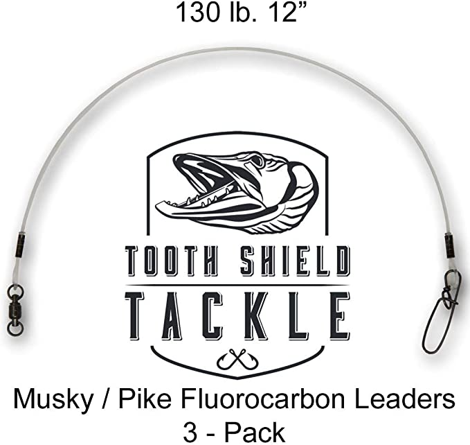 Crane Swivel Premium Fluorocarbon Musky Leaders Muskie Pike Leader Tooth Shield Tackle 5 Pack 100 lb