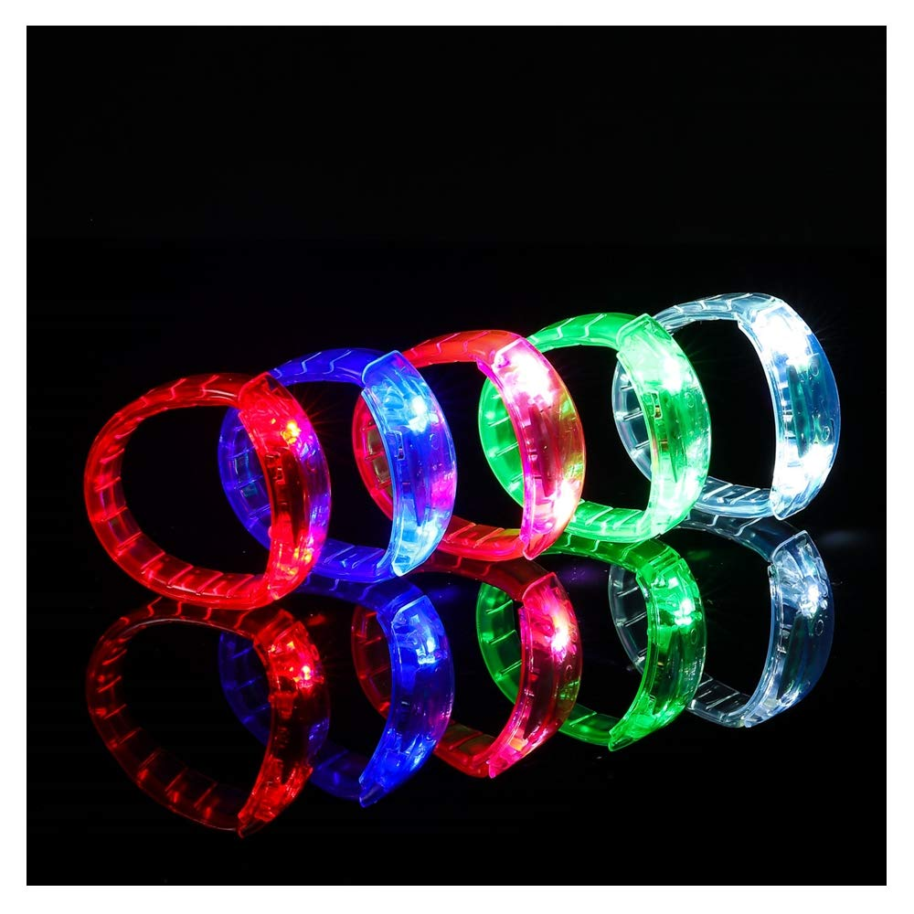 Ezerbery 6 pcs Multicolor LED Light Up Flashing Wristbands LED Light Bracelet For Parties Birthdays Events