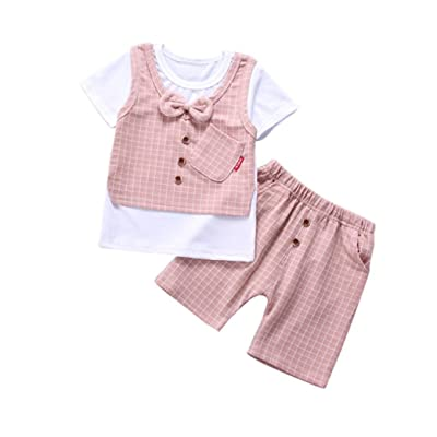 Rucan Toddler Kids Baby Boys Short Sleeve T-Shirt+Pants Gentleman Clothes Set