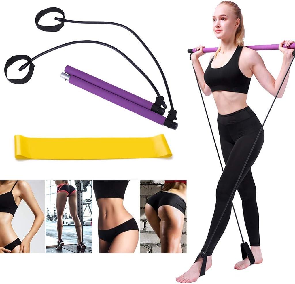 Brazos y Fuerza 1 Bandas Elasticas de Fitness para Yoga Pilates N//O 1 Barra de Pilates Port/átil con Banda de Resistencia Piernas