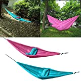Specification:Material: 210T nylon tafftaSize: 260cm x 140cm (Approx.)Max Weight Capacity: About 220kgFeatures:Durable and portable.Easy to be cleaned and dry quickly after being wet.Can accommodate up to 2 persons.Package Included:1 x Hammock2 x Hoo...