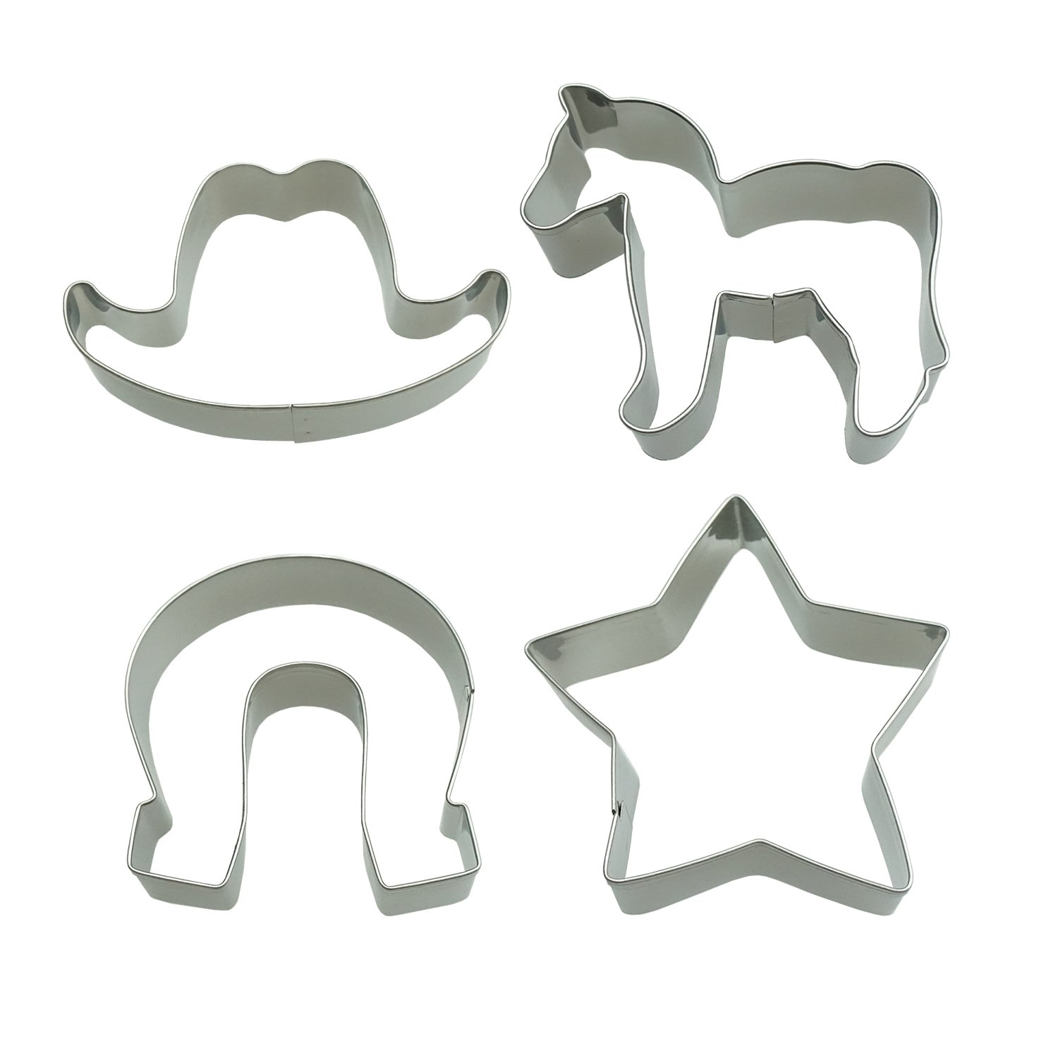 Western Cowboy Cookie Cutter Set Cowboy Hat Star Horseshoe Pony Classic Shape Fondant Pony Cakes Cutters for Kids Party Tin Plated Steel 4 Piece bySHXSTORE