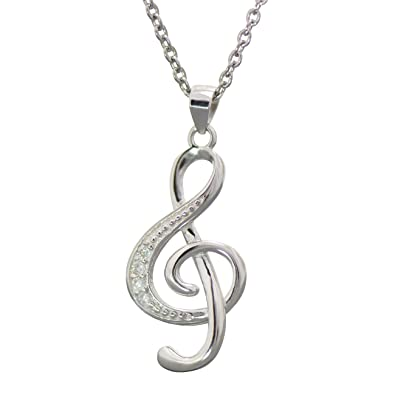 High Quality Solid Sterling Silver stone set Treble Clef Musical Pendant & Sterling Silver Chain Necklace cv3LUD1jpC