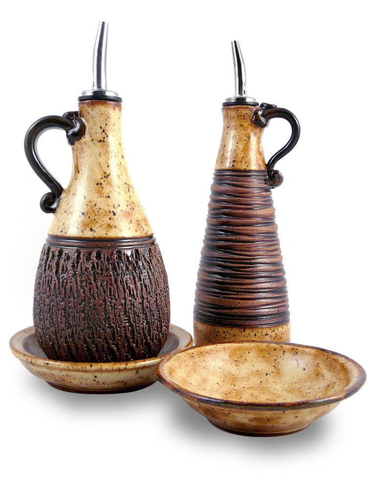 American Made Earthy Terrain Carved Pottery Cruet and Dipping Dish Serving Set, Sahara Sand
