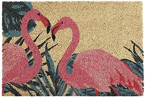 AVENUELAFAYETTE Paillasson Fibre Coco Flamant Rose Fleuilles bleut/ées Oiseau Exotique