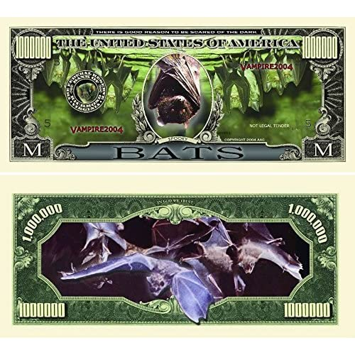 Bats Million Dollar Bill with Currency Protector by American Art Classics