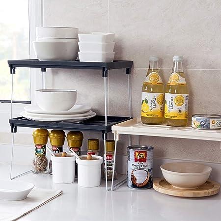 Estante de armario, estante de plástico plegable de cocina con ...