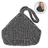 TOPCHANCES Women Rhinestones Crystal Evening Clutch Bag Party Prom Wedding Purse-7.9inch X 2.6inch X 11.8inch (Black)