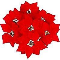 28 Pezzi Artificiale Natale Fiori Rosso Poinsezia Albero Corona Ornamenti, 8 Pollici