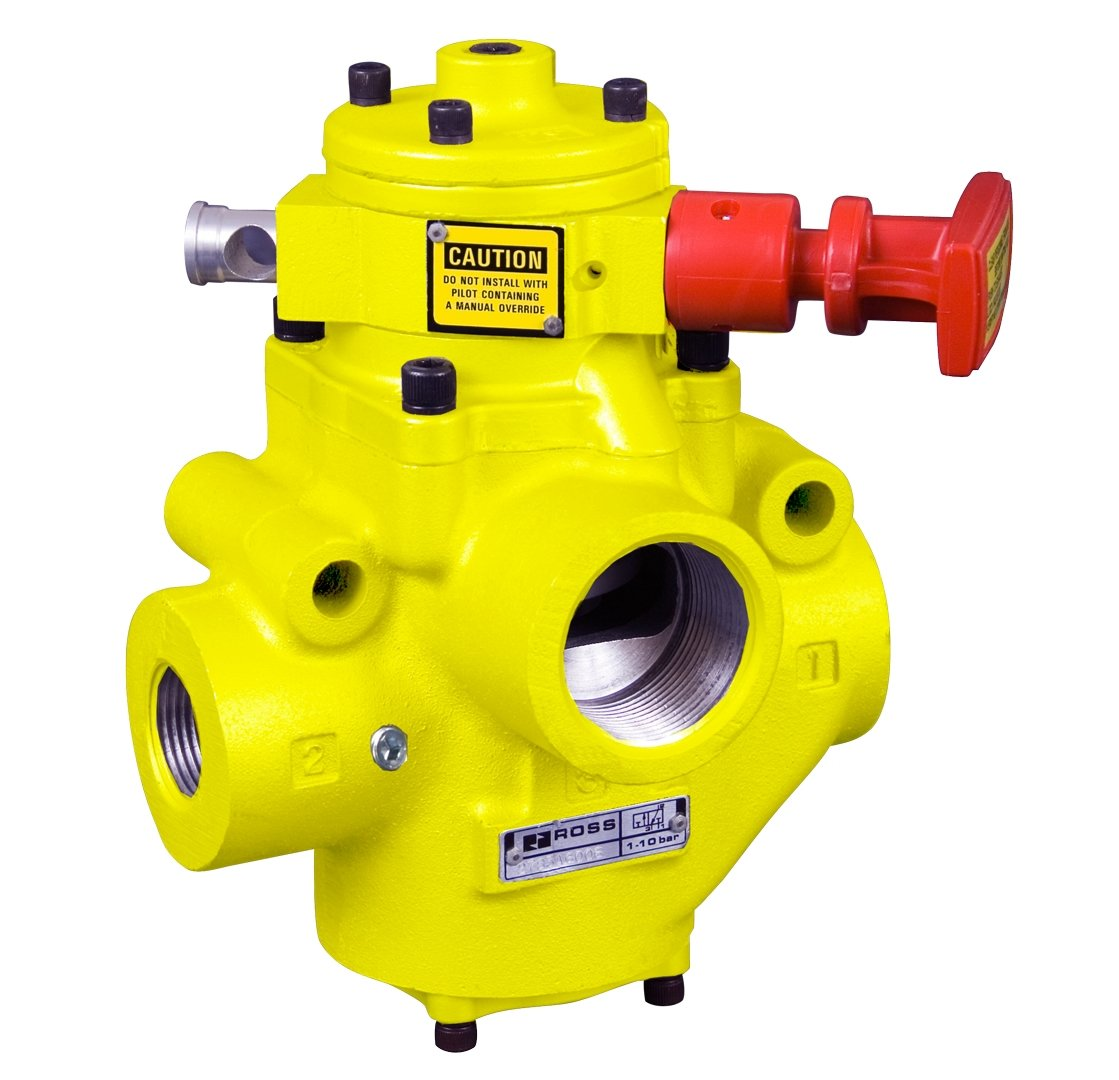 2-1//2 Exhaustaust BSPP 27 Solenoid Piloted Manual Lockout 3//2 Way 110 VAC 2 In-Out 2-1//2 Exhaustaust BSPP 2 In-Out Ross Controls YD2773A9072Z Lockout Valve