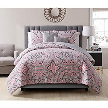Good 5 Piece Beautiful Bold Grey White Pink Full Queen Comforter Set, Medallion  Geometric Themed Reversible