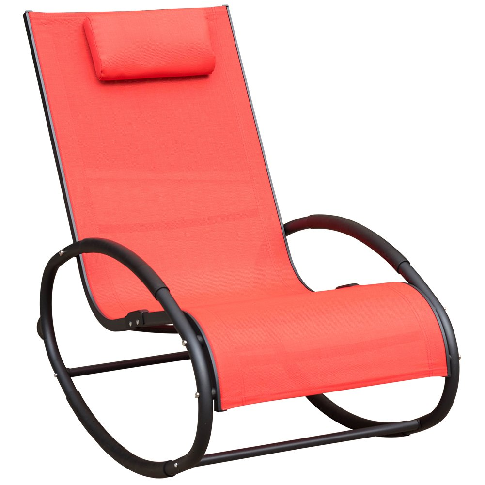 Sundale Outdoor Patio Aluminum Zero Gravity Chair Orbital Rocking Lounge Chair with Pillow Wave Rocker, Capacity 250 Pounds,Red