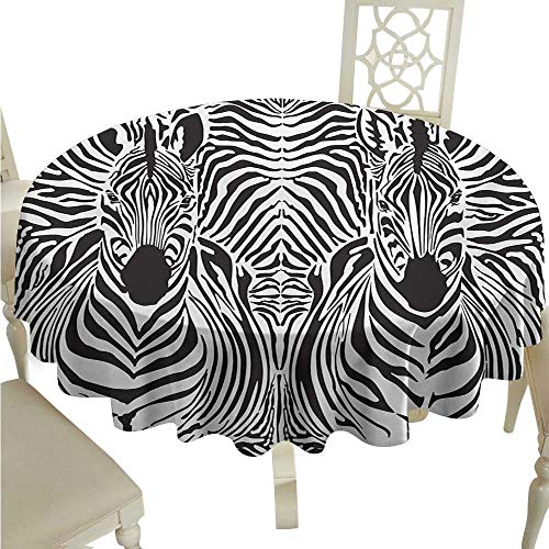Round Tablecloth Wood Zebra Print,Illustration Pattern Zebras Skins Background Blended Over Zebra Body Heads,Black White D54,for Accent Table ()