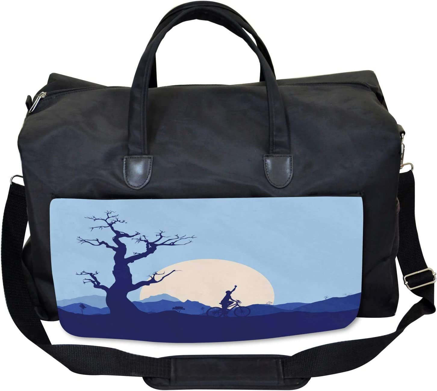 Large Weekender Carry-on Rising Moon in Forest Ambesonne Nature Gym Bag