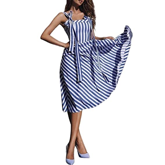 Overdose Vestido De Mujer De La Raya De La ImpresióN De Moda Vestido Informal Independiente Sling