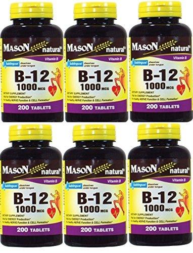 Mason Vitamins B-12 1000Mcg Sublingual Cyanocobalamin Tablets, 200-Count Bottles by Mason -