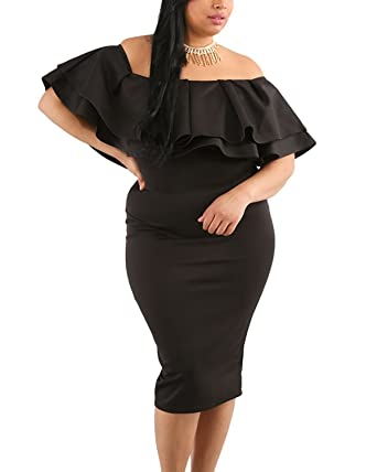 Daci Womens Sexy Ruffle Off Shoulder Plus Size Casual Party Bodycon