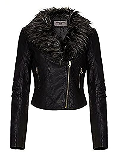 discover latest trends low price perfect quality Women's Faux Fur Collar Biker Jacket, Black, Sizes 8 to 16