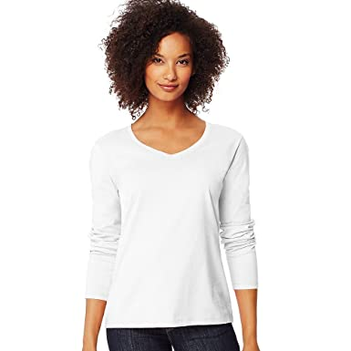 20632380ab3e Hanes Women's Long-Sleeve V-Neck T-Shirt at Amazon Women's Clothing store: