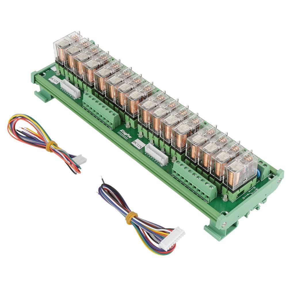 Relay Module, 12V 16 Channels Relay Module for PLC Amplifier Board/Din Rail Installation Electronic Kit Components Relay Module by Jimfoty