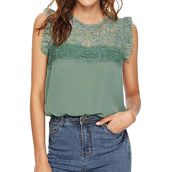 Longra❤Las mujeres de verano sin mangas de gasa de encaje chaleco blusa Tank Tops