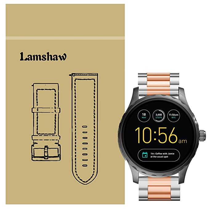 Lamshaw Smartwatch Band for Fossil Q Marshal, Lamshaw Stainless Steel Metal Replacemet Straps for Fossil Q Marshal Smartwatch (Silver-Rose Gold)