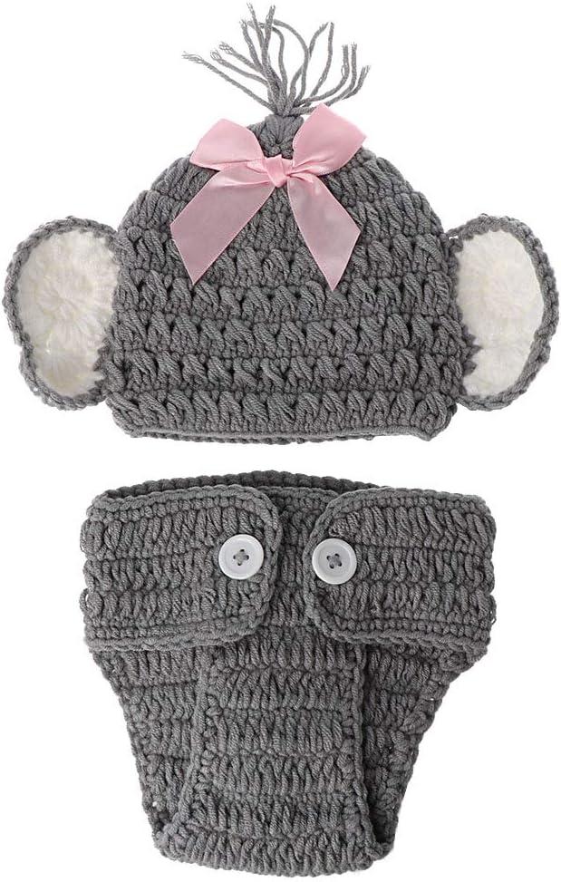 VIccoo Gorra de Bebe, Nacido Bebé Elefante Tejido Crochet Sombrero Traje Foto Fotografía Prop Conjuntos - Niña